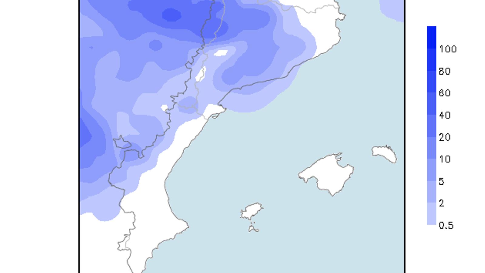 Acumulacions de precipitació previstes per a avui