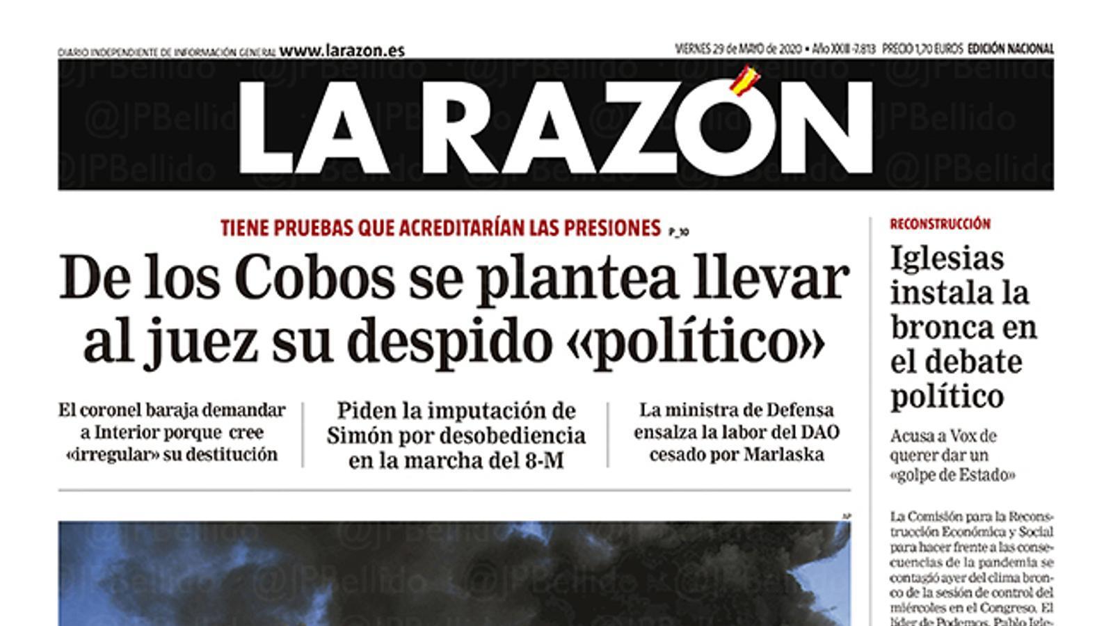 La portada de 'La Razón' del 29 de maig de 2020