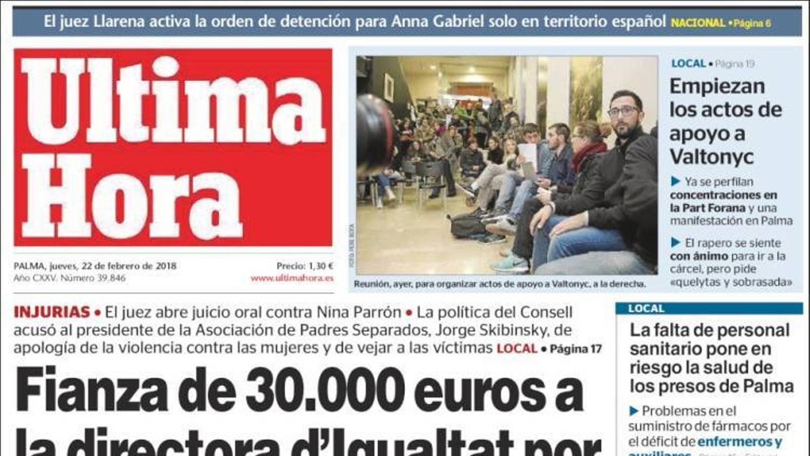 """""""Fiança de 30.000 euros a la directora d'Igualtat per insultar a un """"masclista"""", portada d''Última Hora'"""