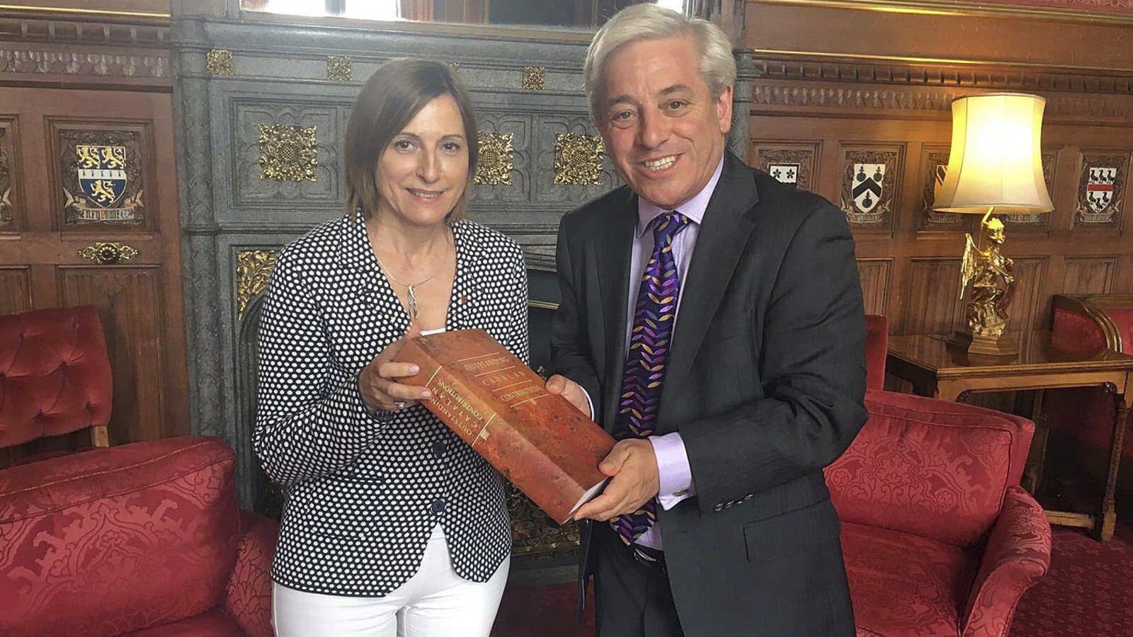 El president del Parlament britànic diu que permetria un debat sobre la independència i dona suport a Forcadell