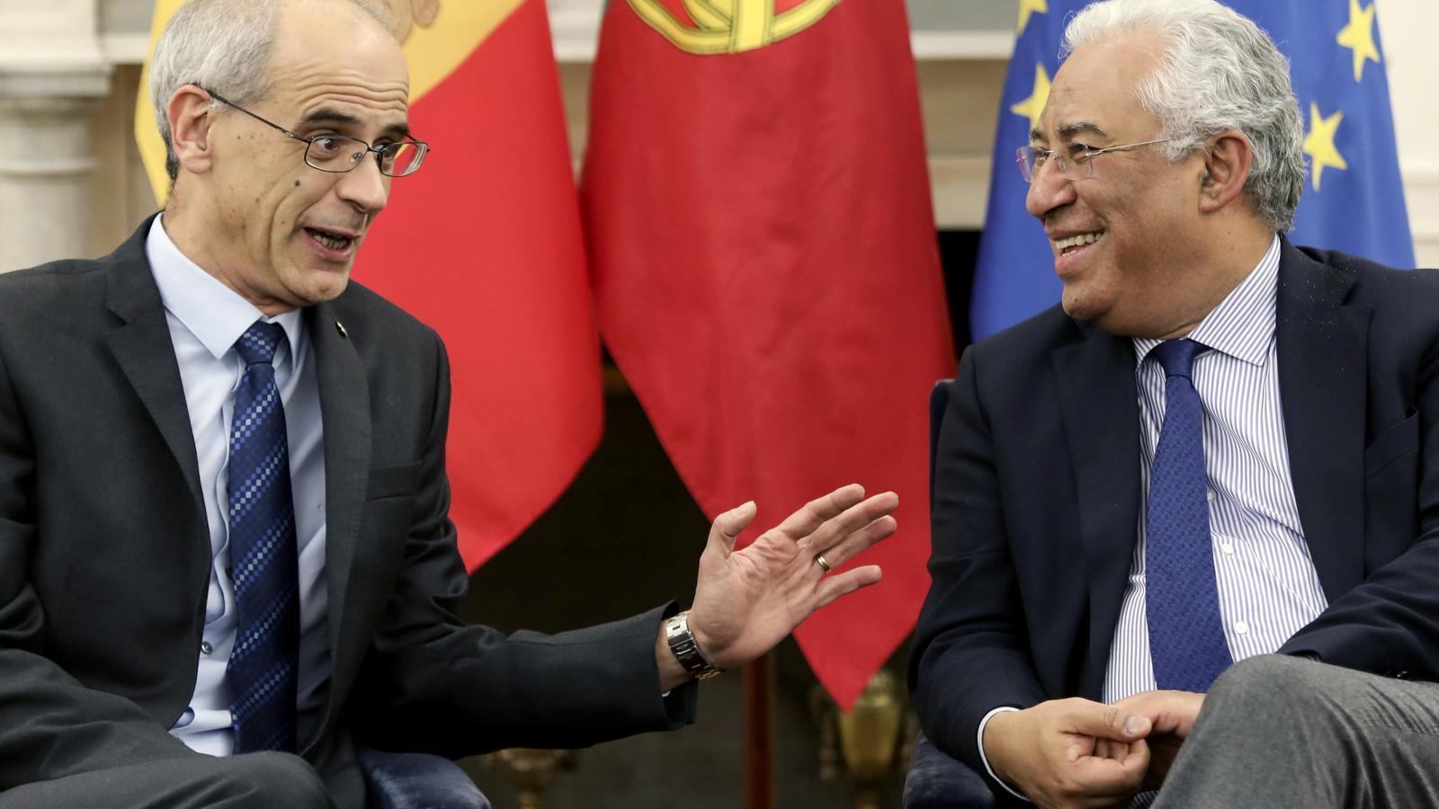 El cap de Govern, Toni Martí, i el primer ministre portuguès António Costa, durant la reunió d'aquest divendres a Lisboa. / EFE