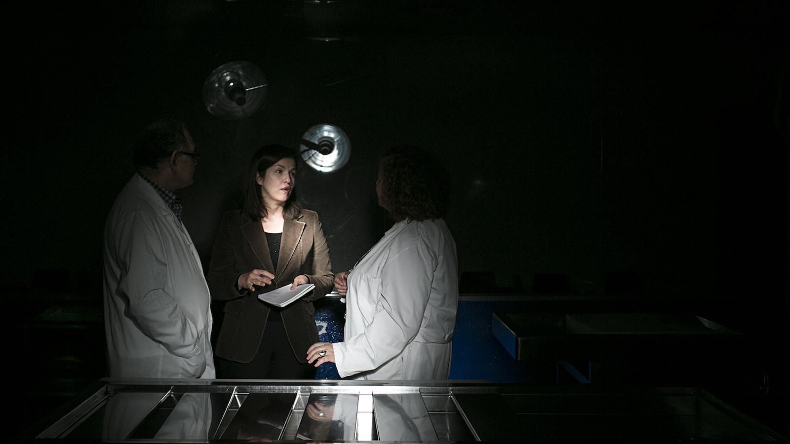 La forense Immaculada Gràcia, parlant amb col·legues en una sala d'autòpsies de l'Institut de Medicina Legal i Ciències Forenses de Catalunya (IMLCFC)