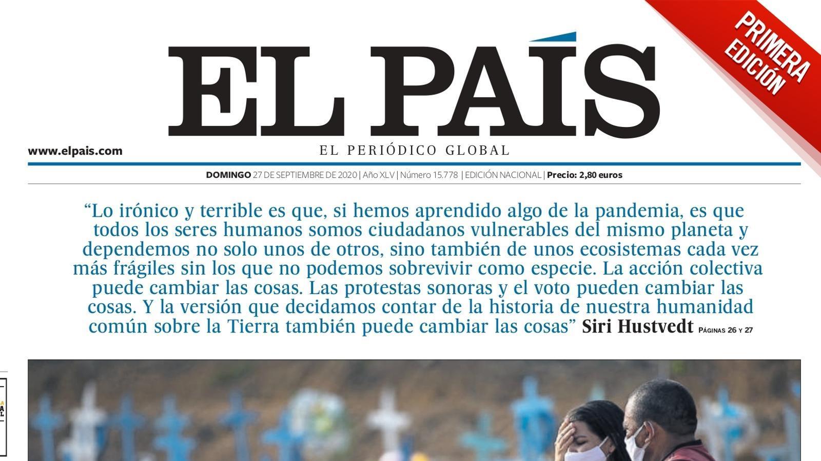 La portada de la primera edició d''El País' del 27 de setembre de 2020
