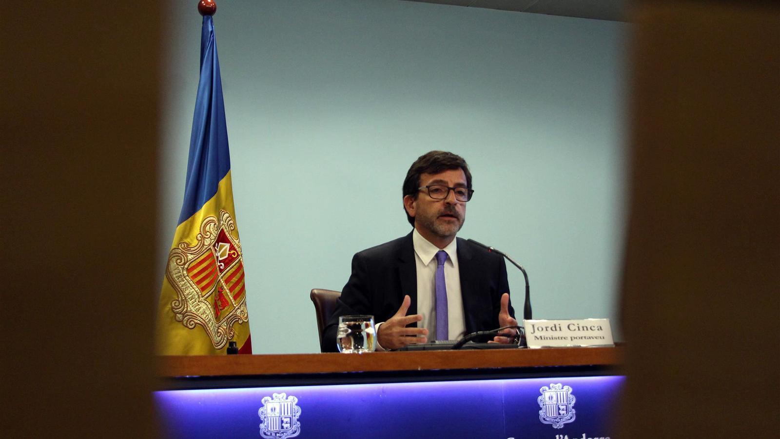 El ministre portaveu i ministre de Finances, Jordi Cinca, en una roda de premsa recent. / M.M. (ANA)
