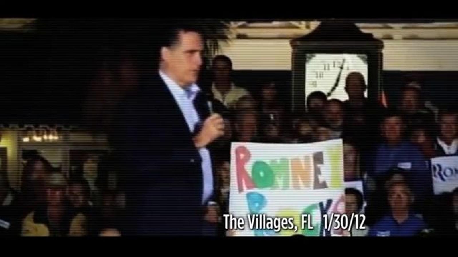 Anunci de la campanya d'Obama en què es mostra Romney cantant 'America The Beautiful', mentre es recorda el seu passat empresarial