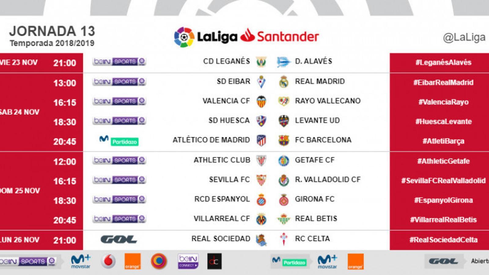 Els horaris de la jornada 13 de la Lliga