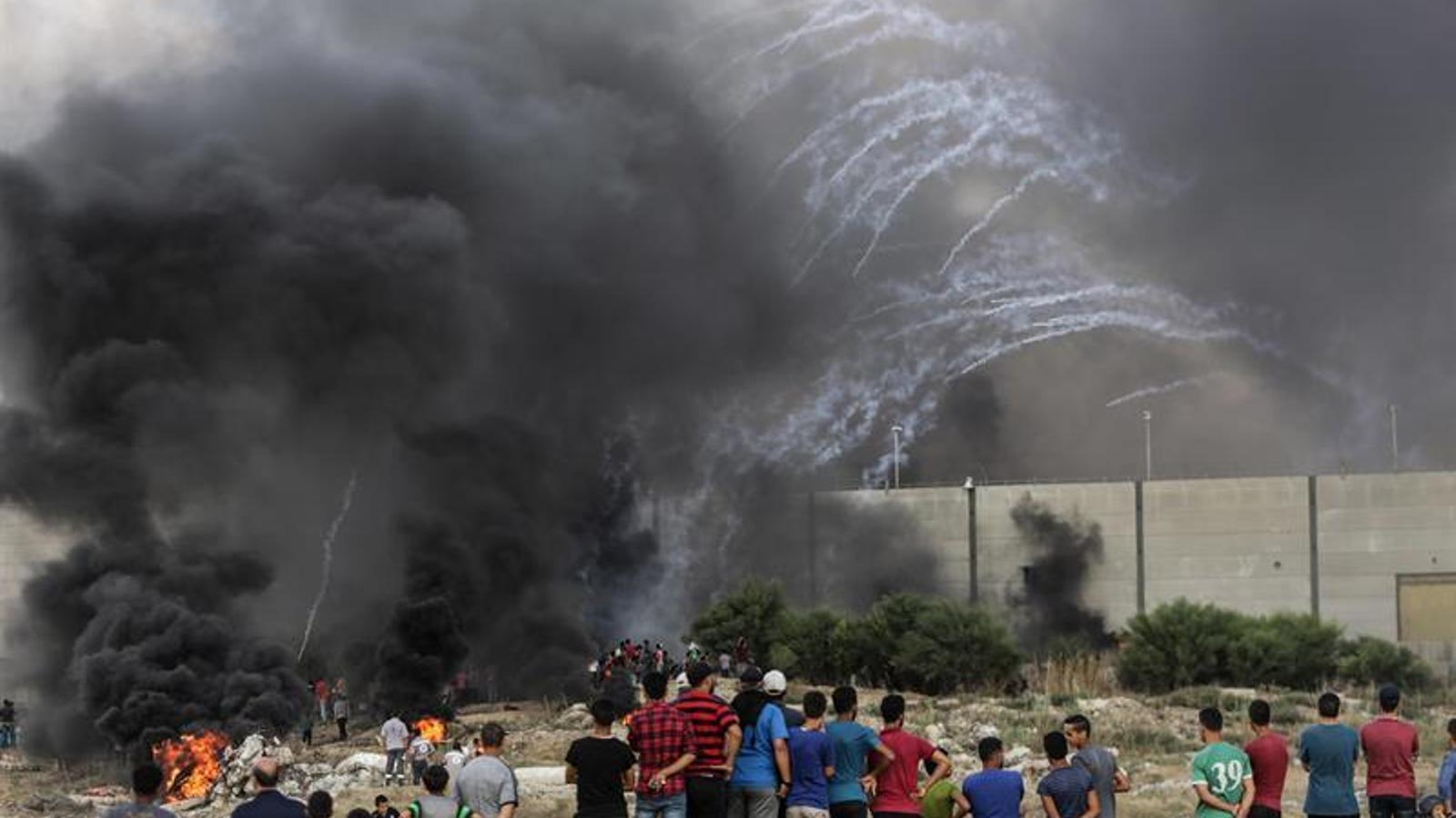 Ciutadans de Gaza protesten pels atacs israelians, a prop de la frontera