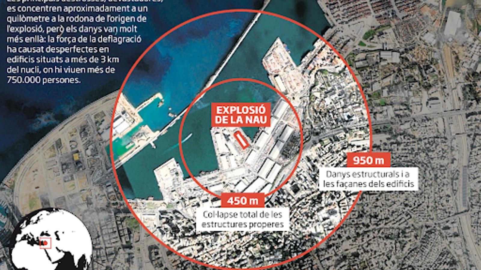 Abast de l'explosió al port de Beirut.