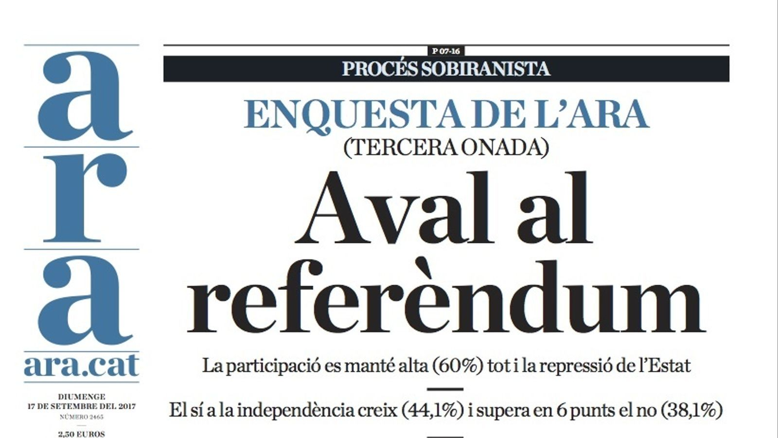 """""""Aval al referèndum"""", la nova enquesta de l'ARA a la portada d'aquest diumenge"""