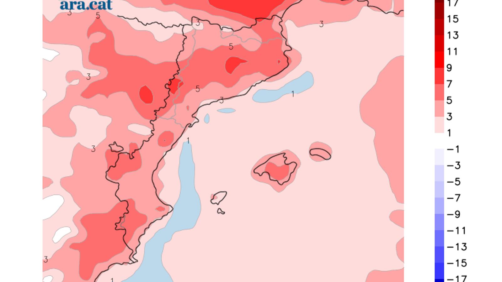 Diferència prevista entre la temperatura mínima d'avui i la de dijous