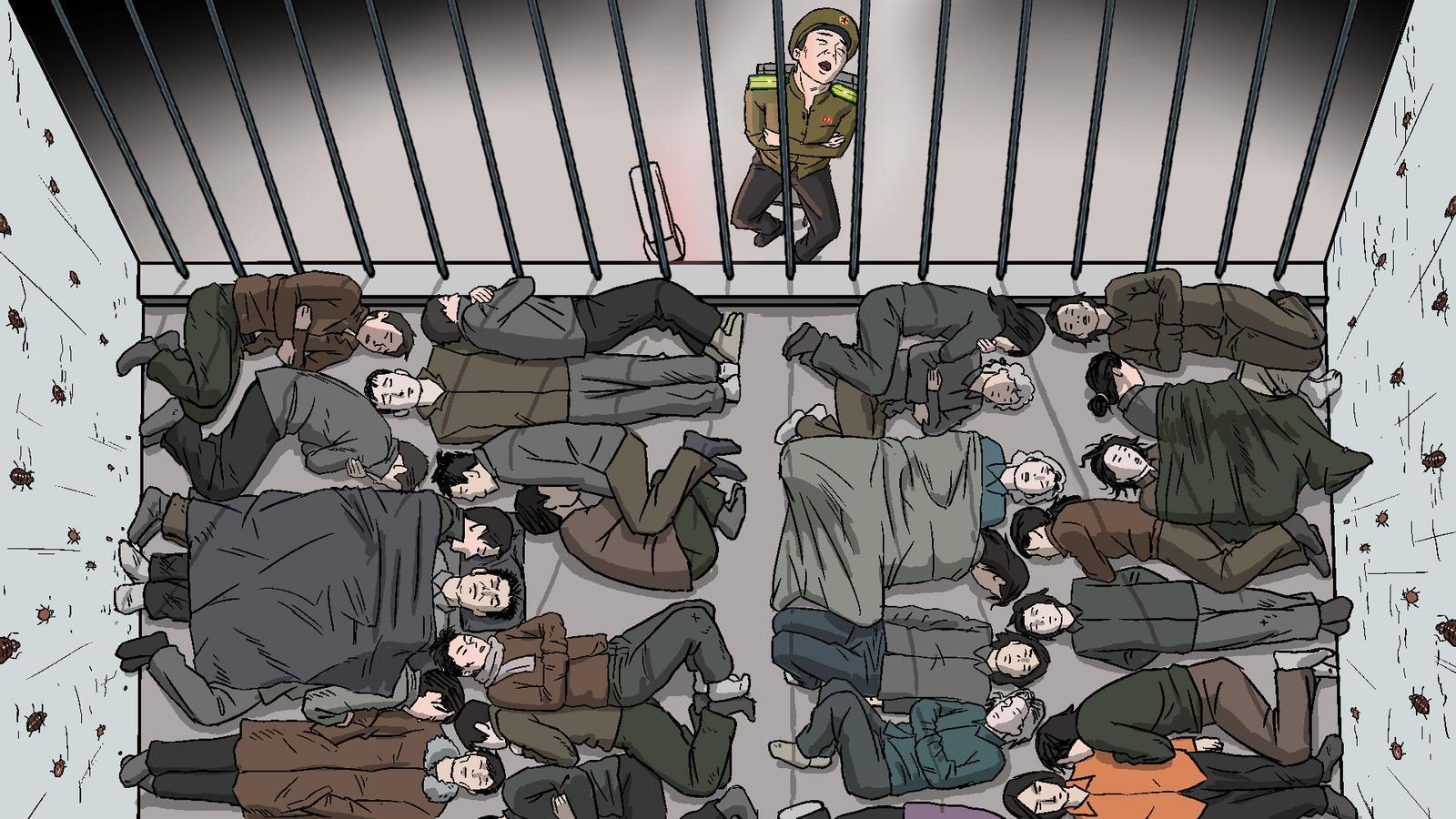 Il·lustració facilitada per HRW sobre els centres de detenció preventiva a Corea del Nord.