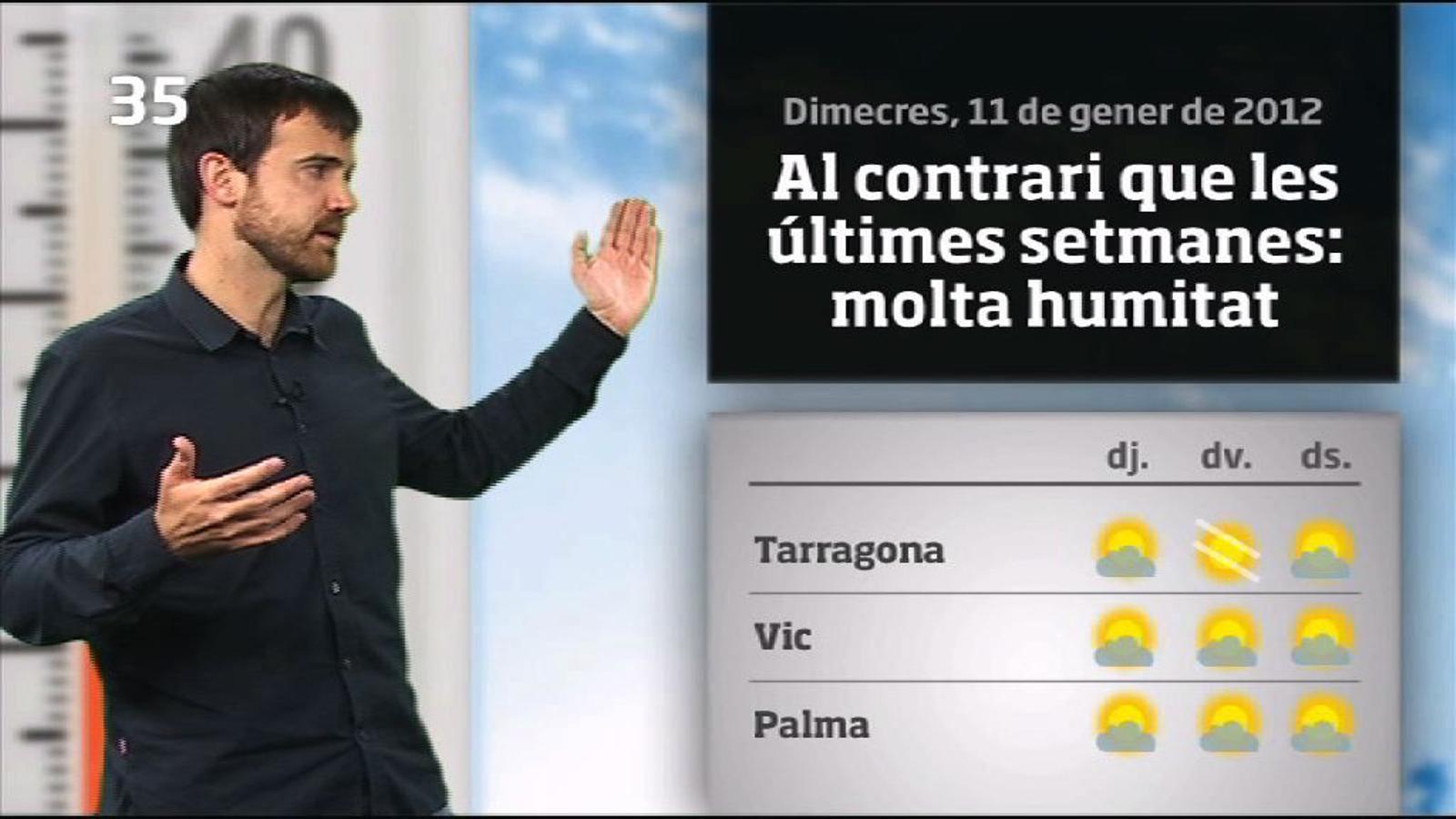 La méteo en 1 minut: sol, boires i molta humitat fins diumenge (12/01/2012)