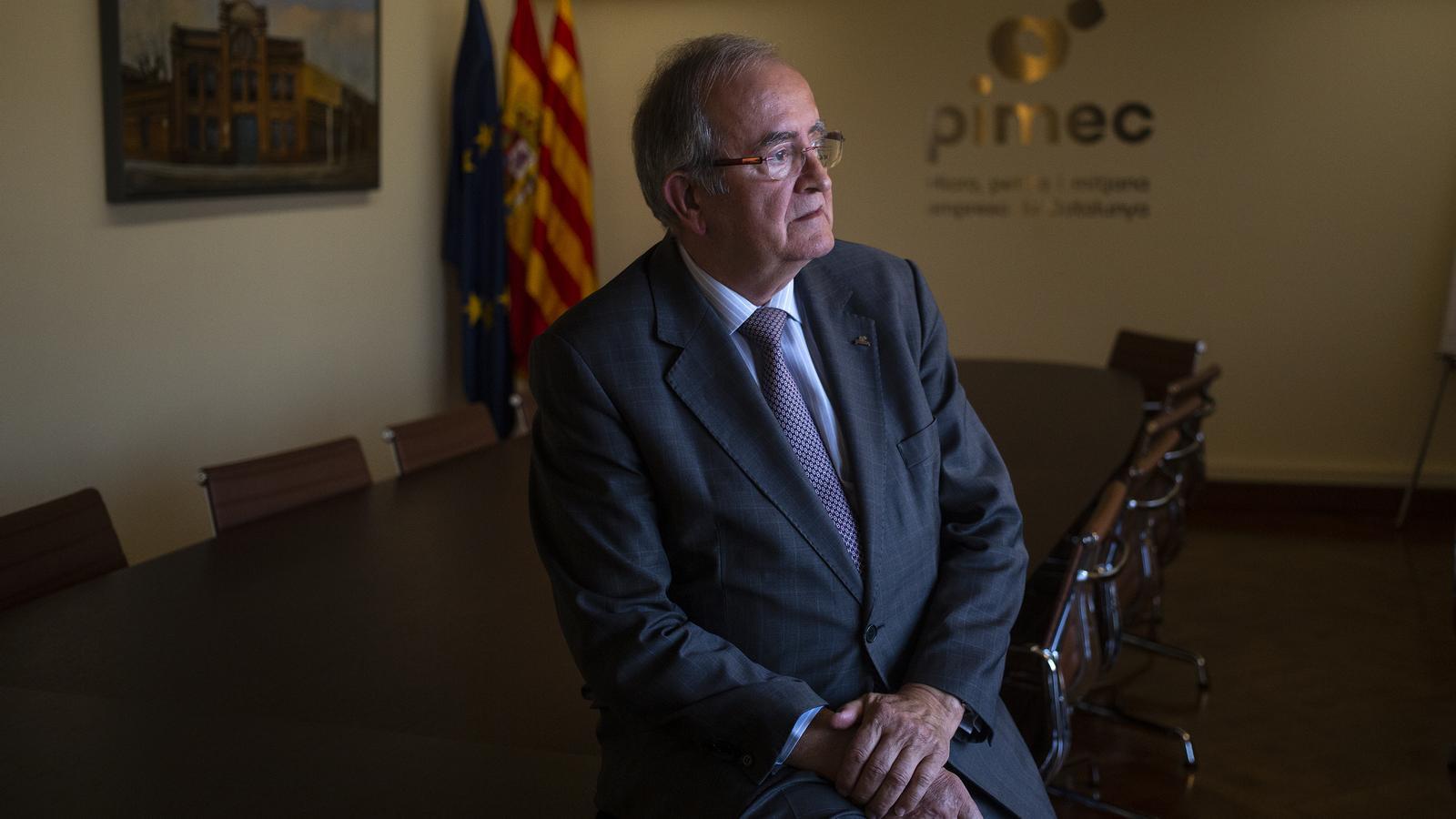 Josep González, president de Pimec, abans de l'entrevista.