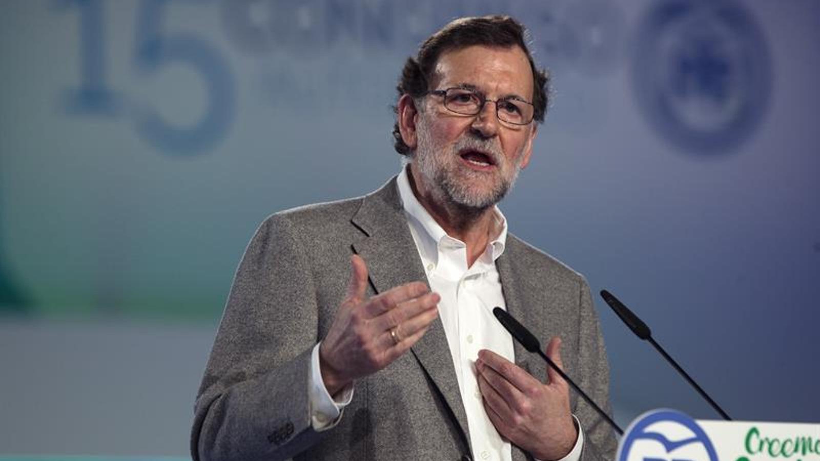 El president del govern espanyol, Mariano Rajoy, ahir al congrés del PP andalús a Màlaga. EFE