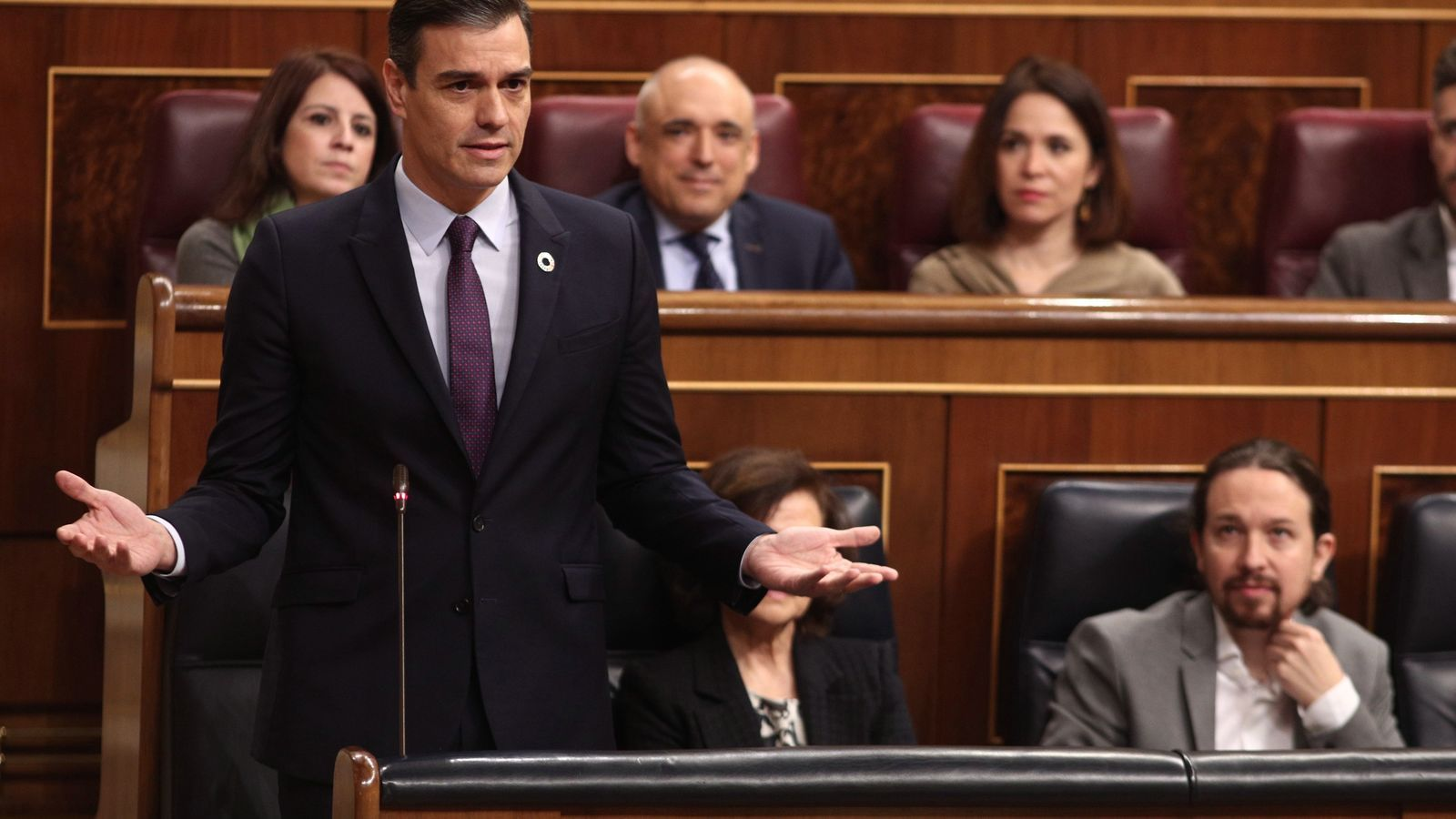 El president del govern espanyol, Pedro Sánchez, durant la sessió de control al Congrés.