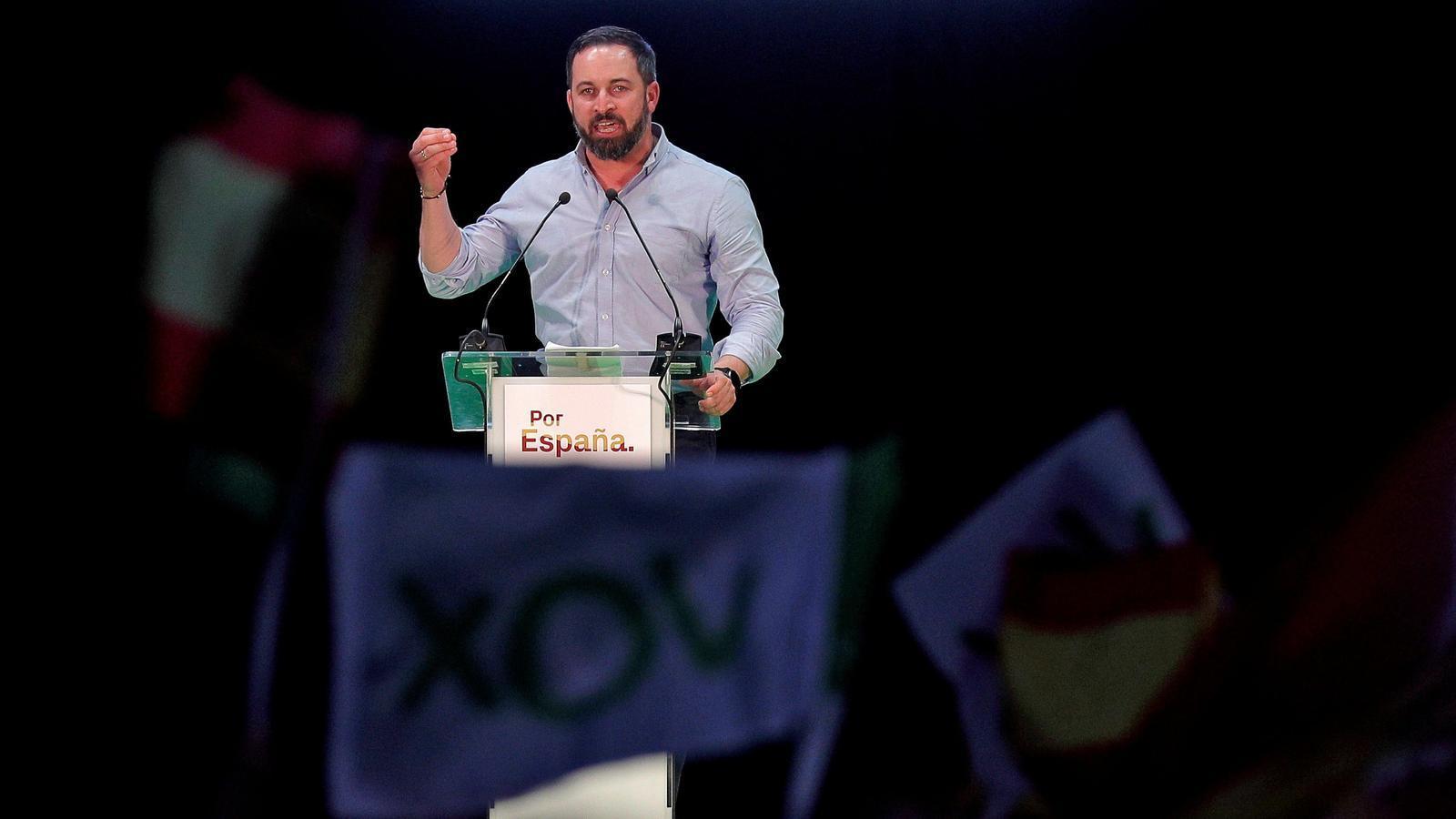 Santiago Abascal durant el míting celebrat per Vox a València