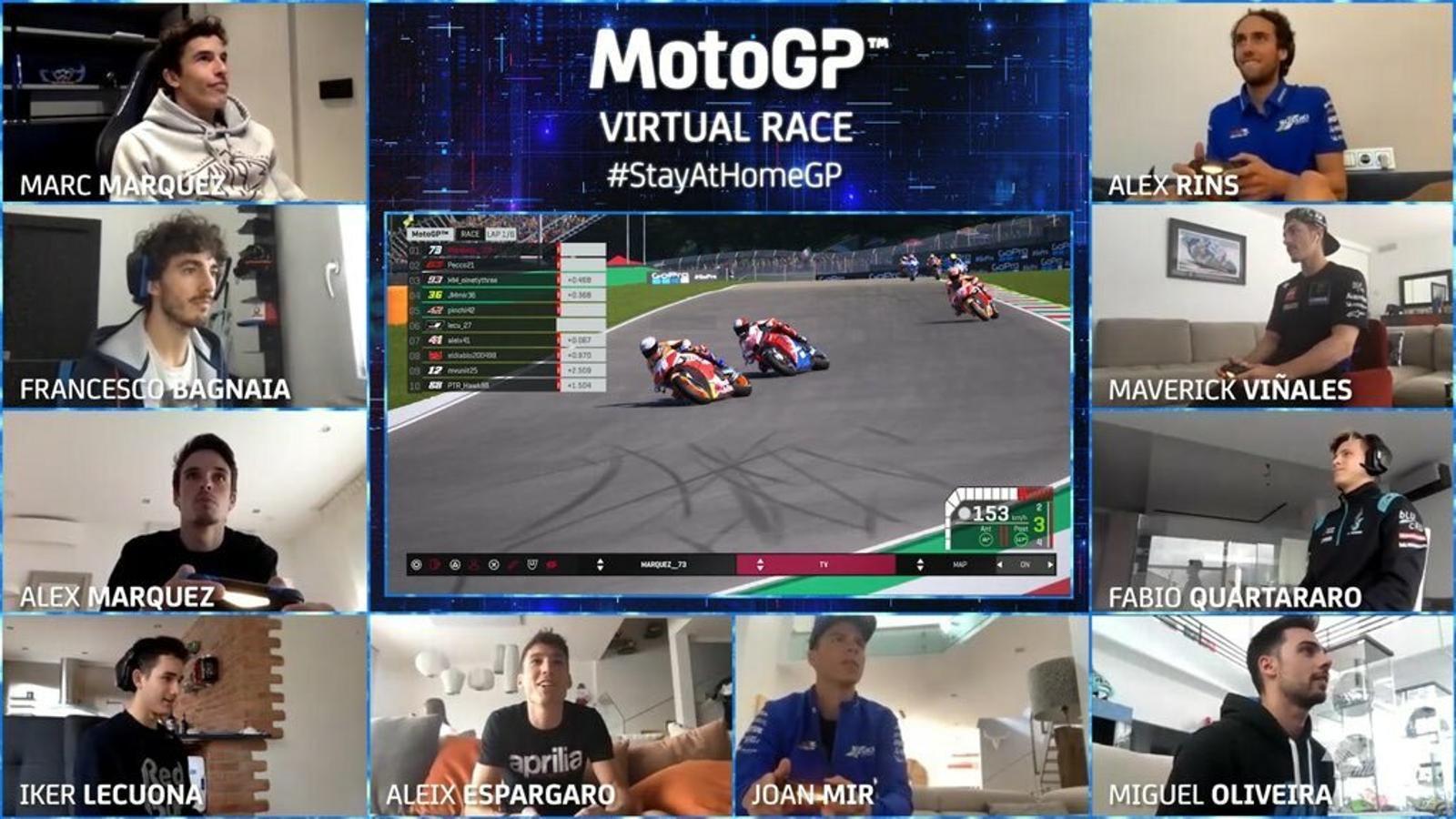 Pilots de MotoGP, durant una cursa virtual