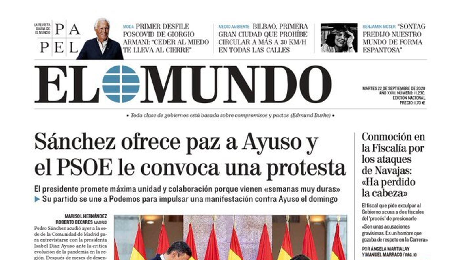 Portada d''El Mundo', 22 de setembre del 2020