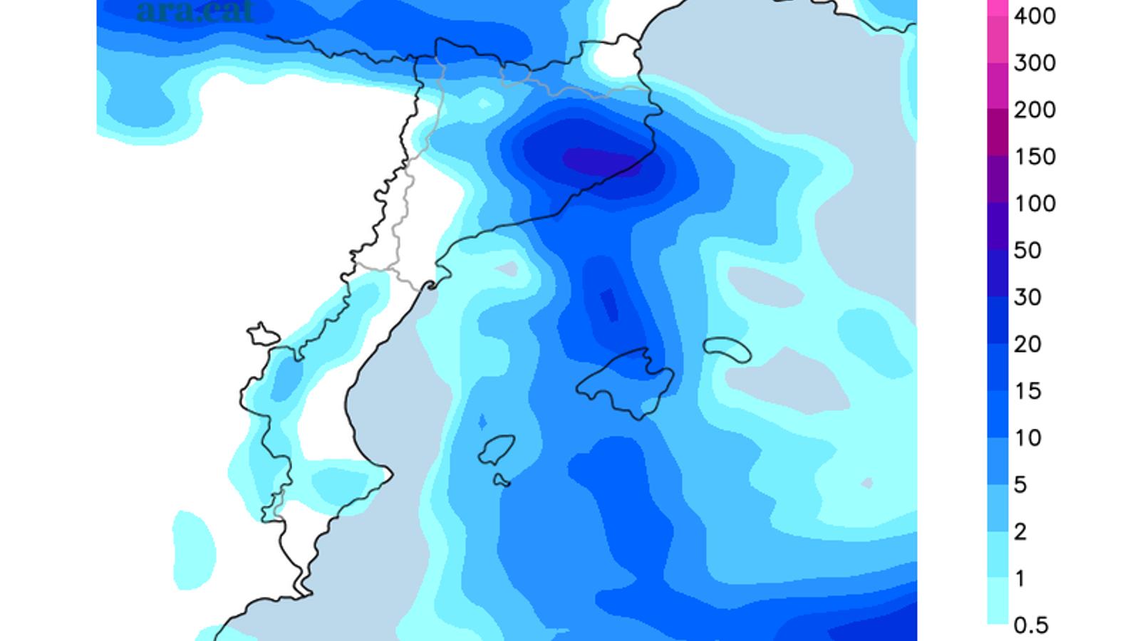 Acumulacions totals de precipitació previstes fins diumenge a la nit