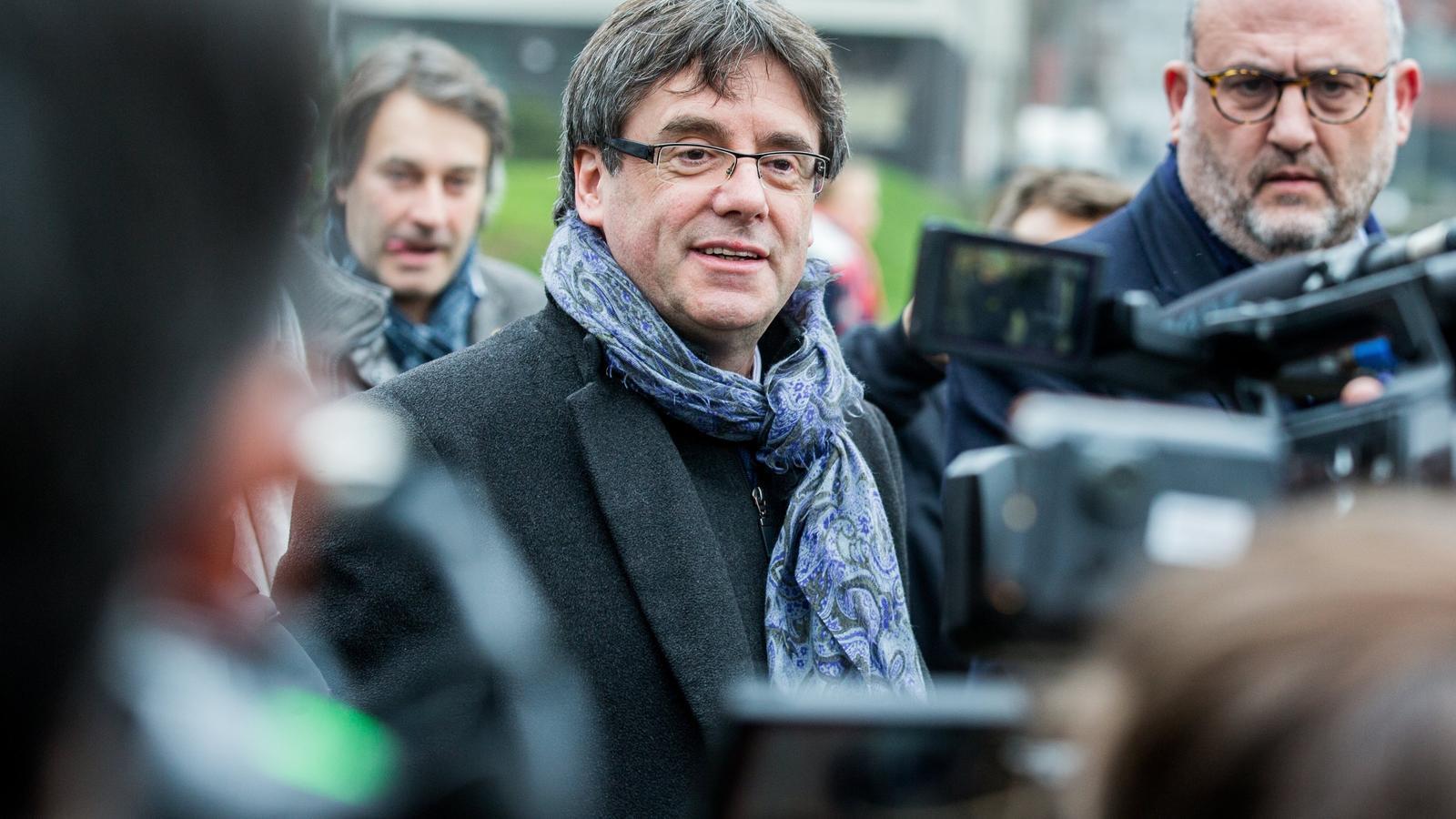 El president durant una roda de premsa a Brussel·les, fa dues setmanes