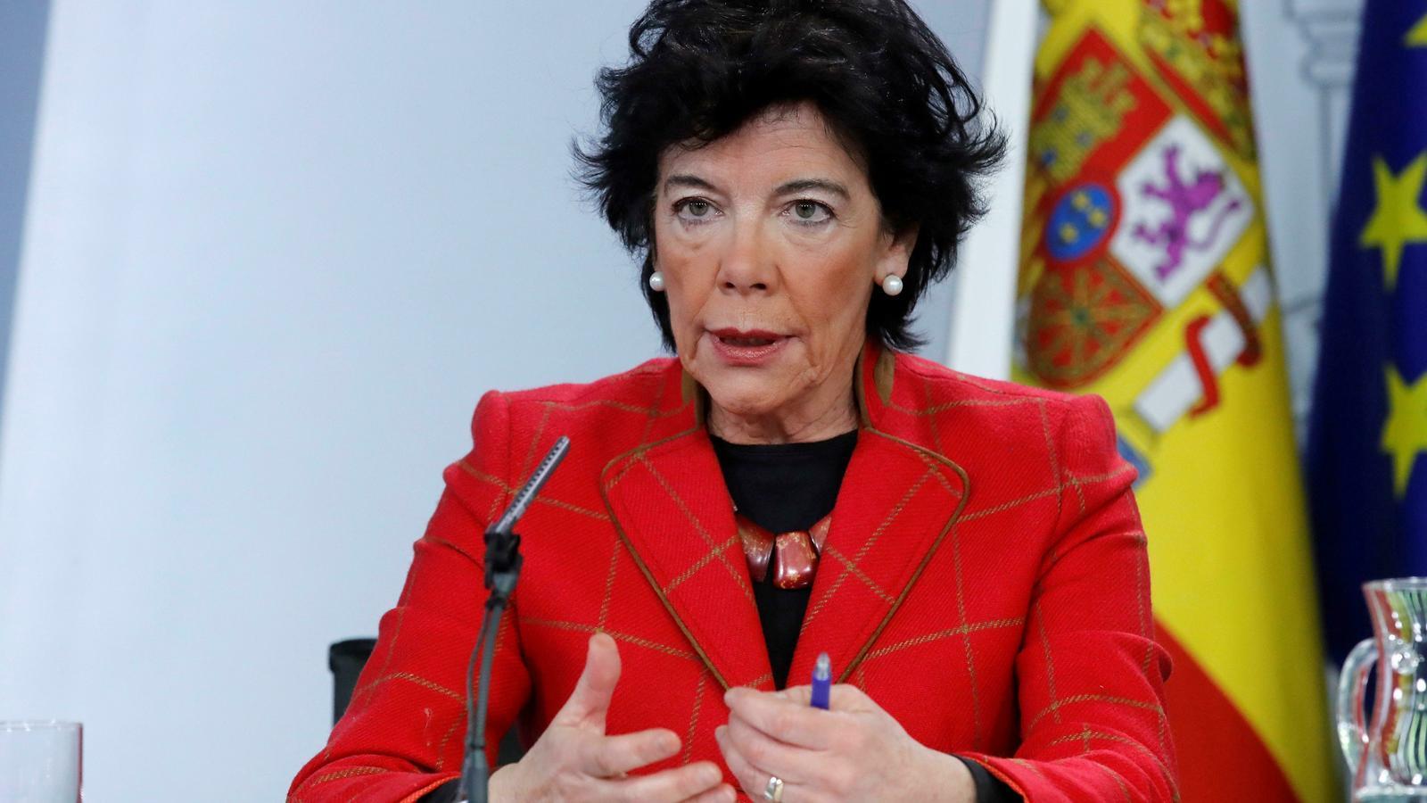 La ministra d'Educació, Isabel Celaá, durant la roda de premsa posterior al consell de ministres divendres passat.