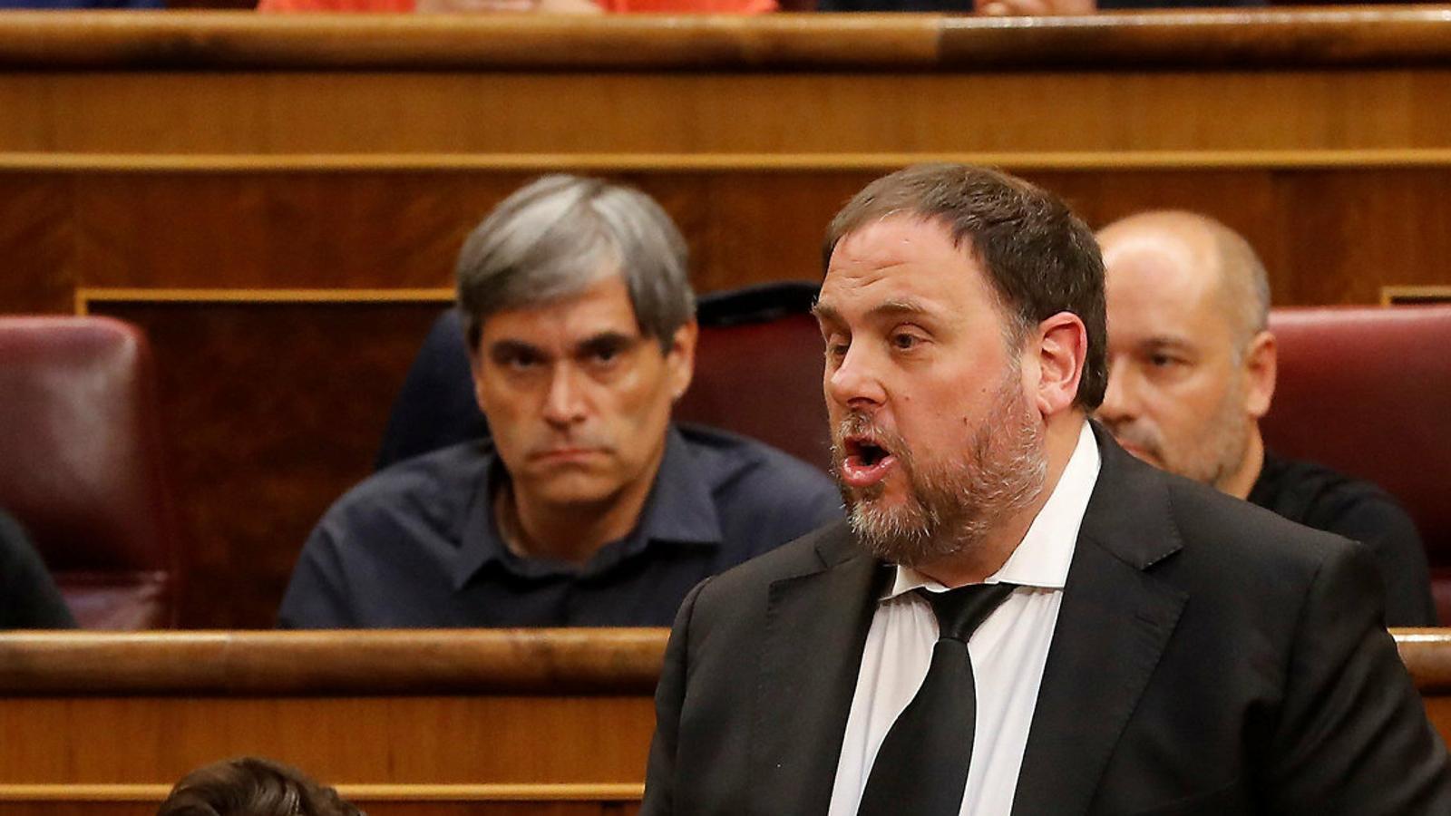 El president d'ERC, Oriol Junqueras, durant la sessió de constitució del Congrés.
