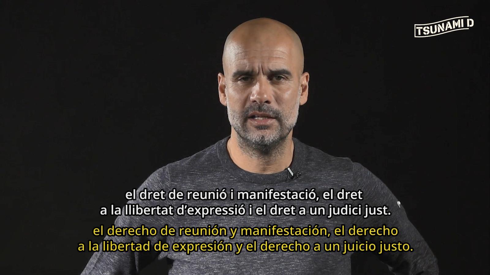 Pep Guardiola llegeix el comunicat de Tsunami Democràtic