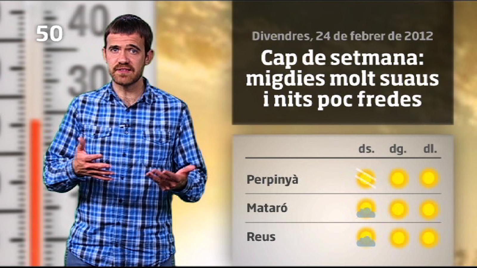 La méteo en 1 minut: dissabte amb núvols prims però ambient primaveral (25/02/2012)