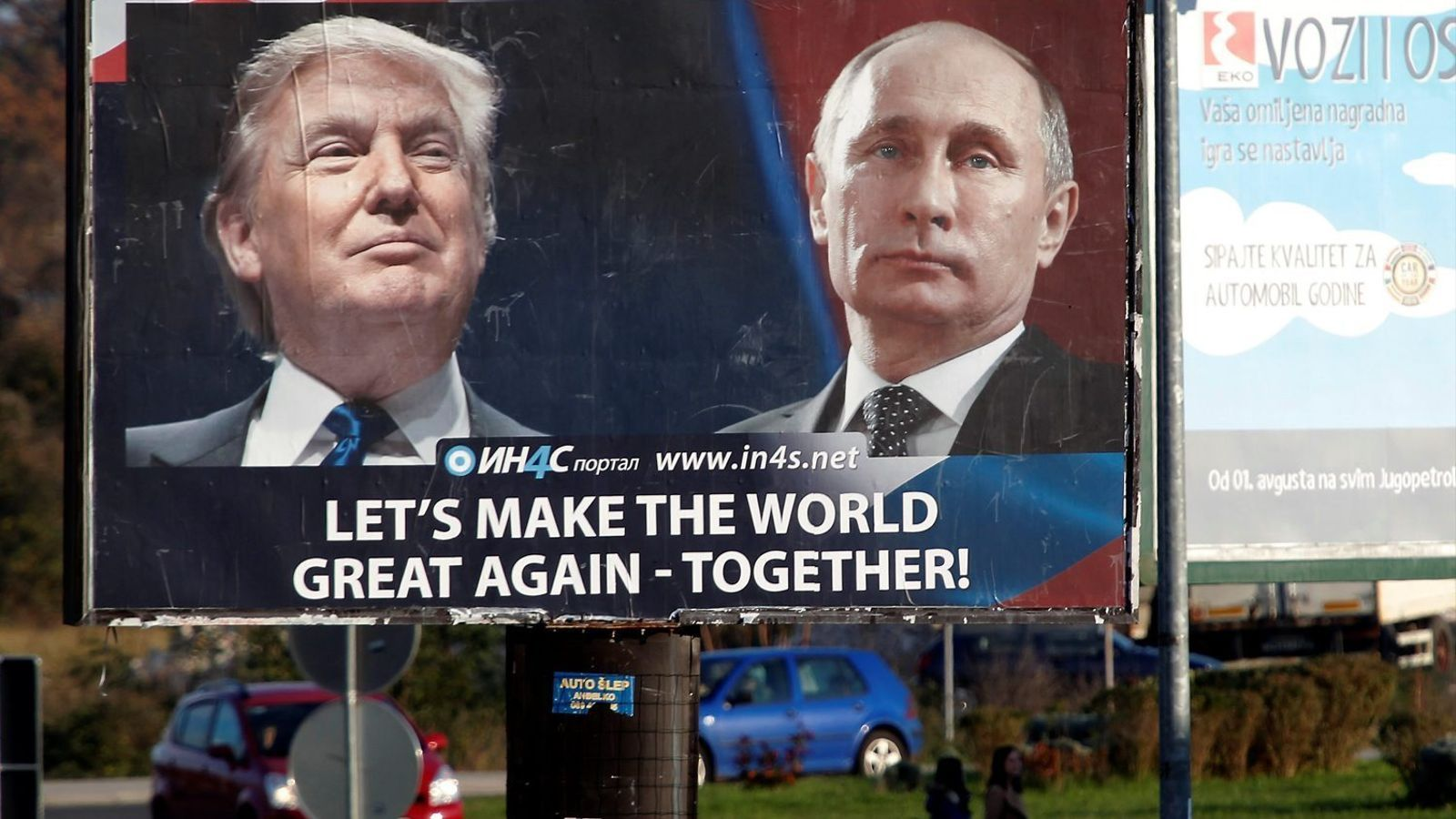 """Publicitat d'un portal de notícies a Danilovgrad, Montenegro: Trump i Putin i el lema """"Tornem fer gran el món, junts!"""""""