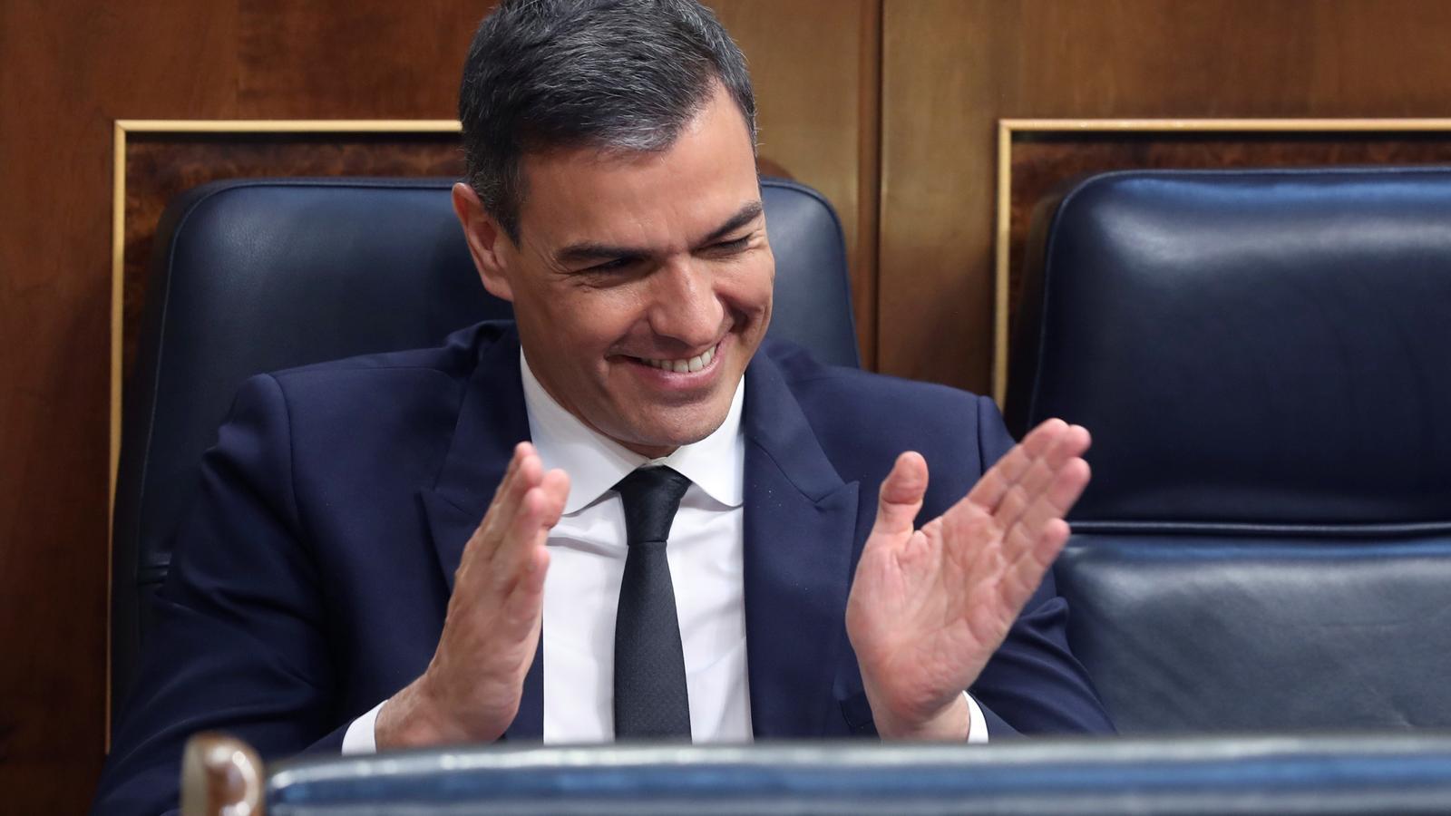 El president del govern espanyol, Pedro Sánchez, durant el debat de pròrroga de l'estat d'alarma.