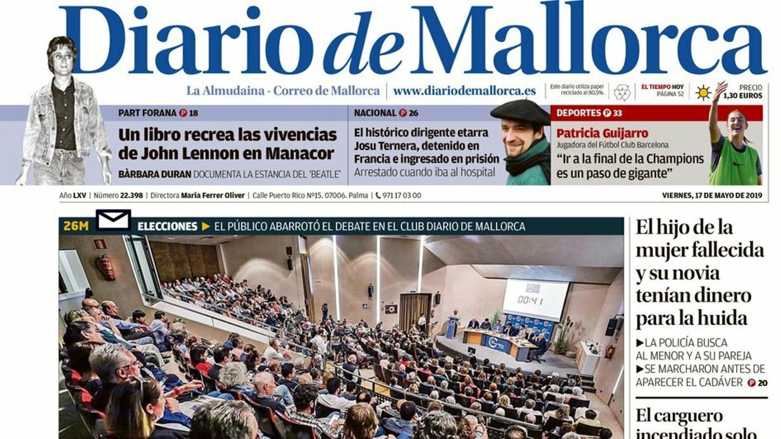 """Cau Josu Ternera, falten altres 30 pistolers d'ETA"", portada de l''Abc'"