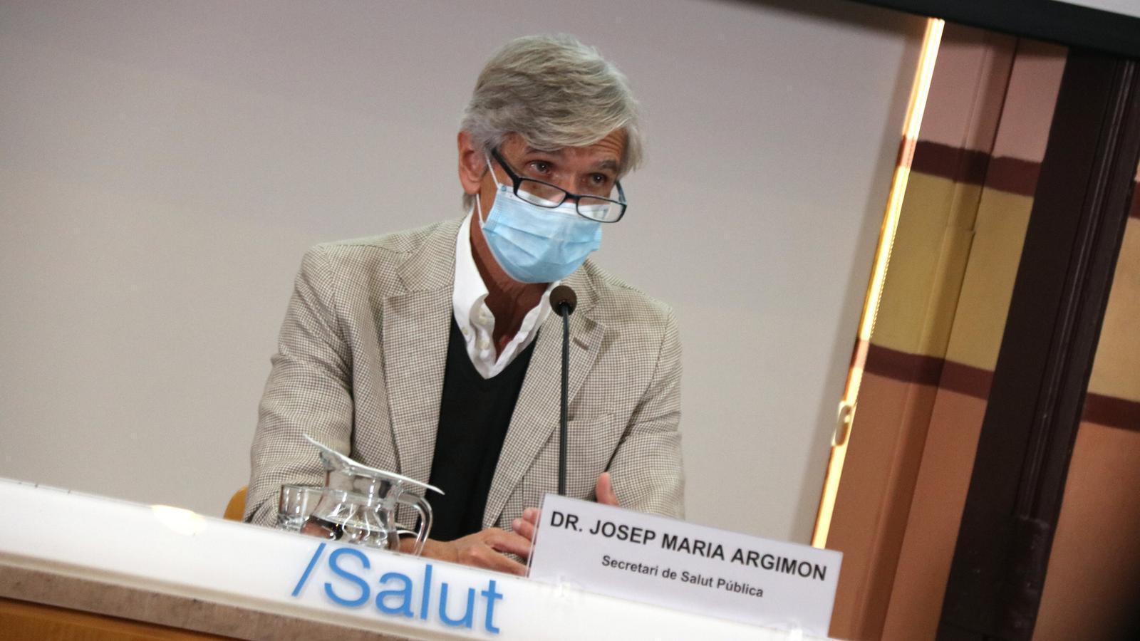 Roda de premsa del secretari de Salut Pública, Josep Maria Argimon, i el coordinador de la unitat de seguiment del covid-19, Jacobo Mendioroz, del dijous 8 d'octubre.