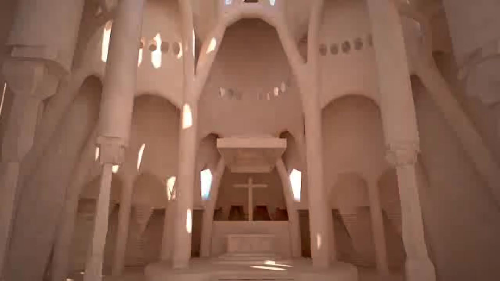 Reconstrucció 3D de com seria l'església de la Colònia Güell