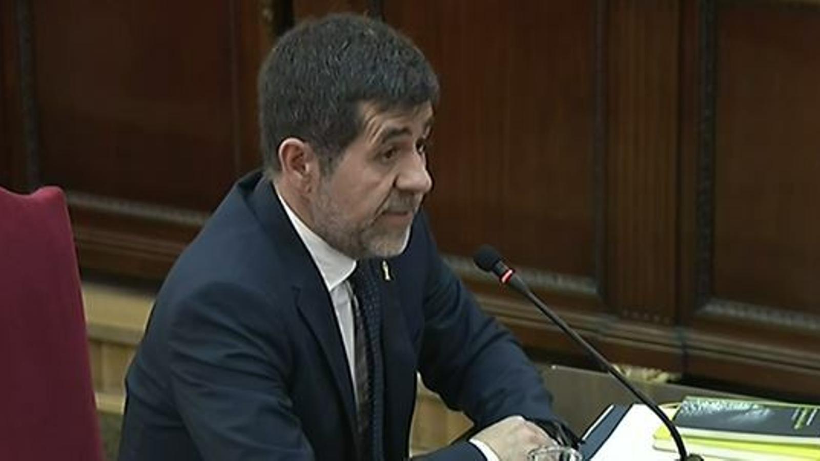 Jordi Sànchez durant el seu interrogatori en el judici al Procés