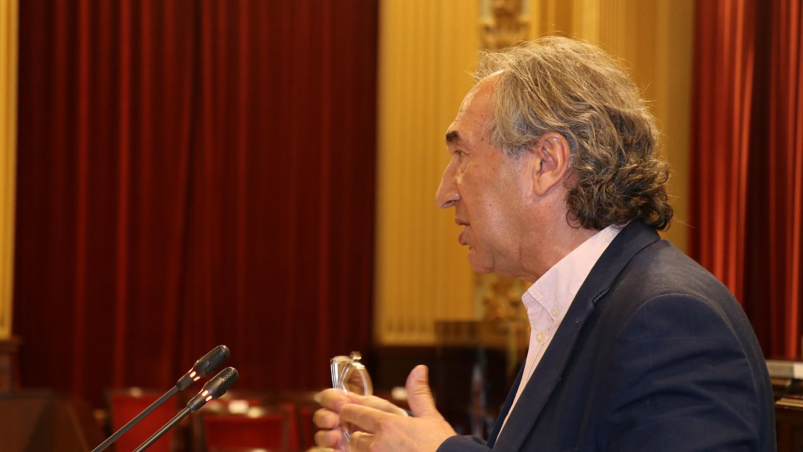 Imatge de Martí March durant la seva compareixença.