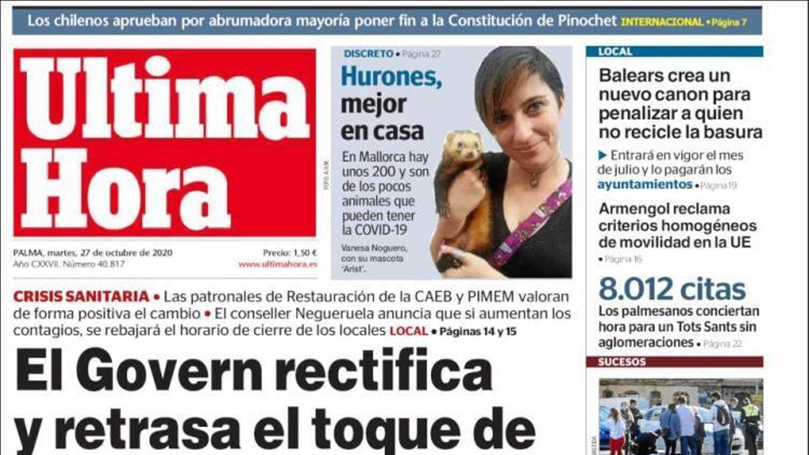 """""""El Govern rectifica i ajorna el toc de queda a mitjanit"""", portada d''Última Hora'"""