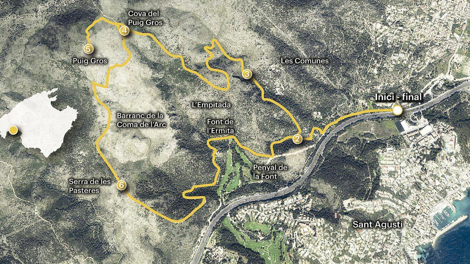 Puig Gros de Bendinat,  la gran talaia sobre                la badia de Palma