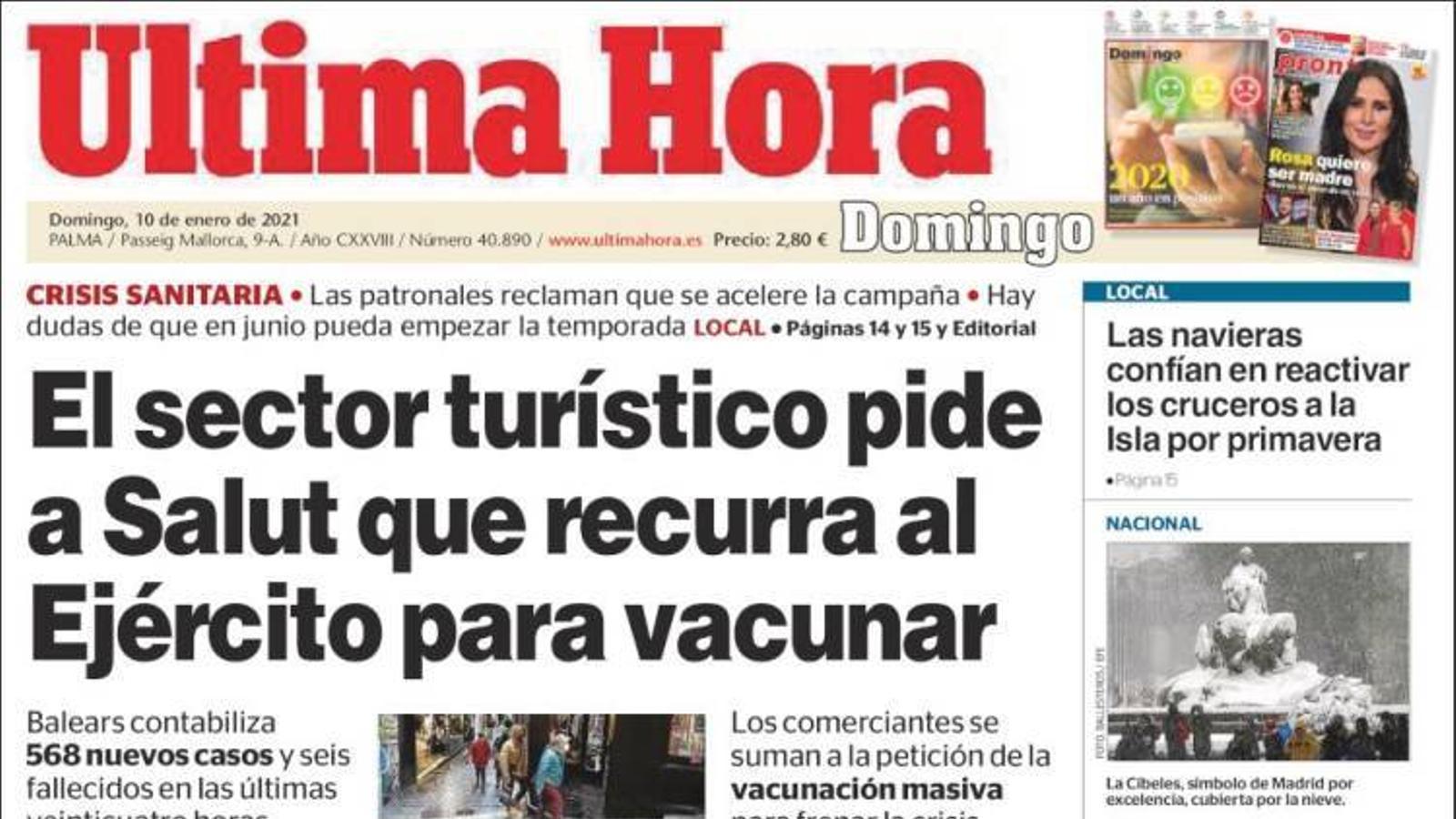 """""""El sector turístic demana a Salut que recorri a l'exèrcit per vacunar"""", portada de l''Última Hora'"""