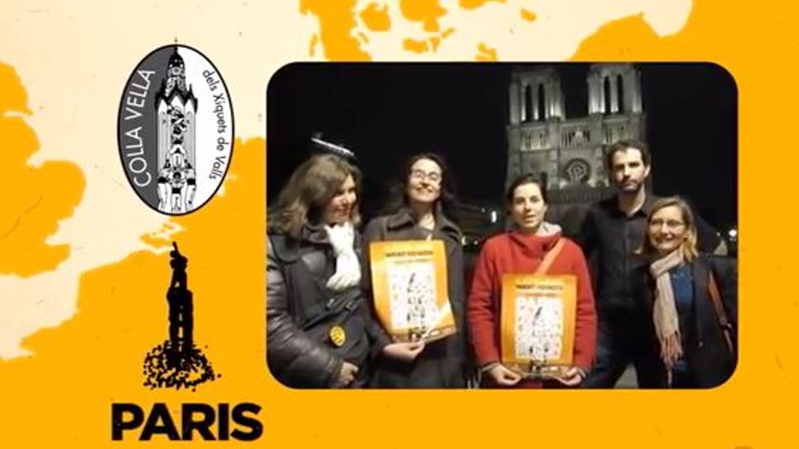 Acció 'Human towers for democracy' d'Òmnium Cultural, que aixecarà castells a ciutats d'Europa per internacionalitzar el procés. Prèvia París