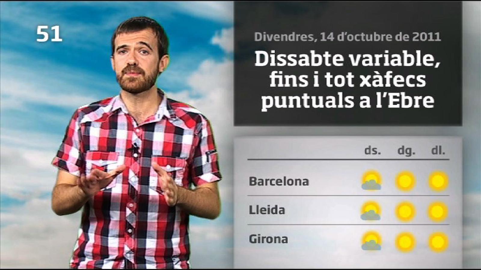 La méteo en 1 minut: dissabte més fresc i amb xàfecs al sud (15/10/2011)