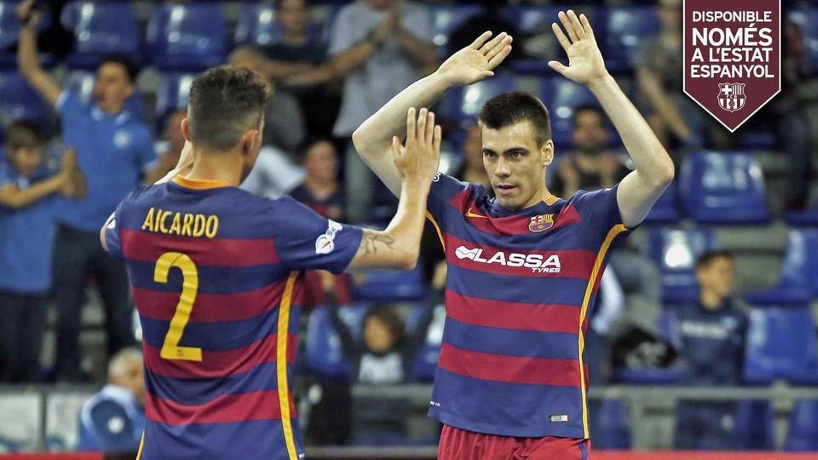 Aicardo celebra un gol amb Sergio Lozano