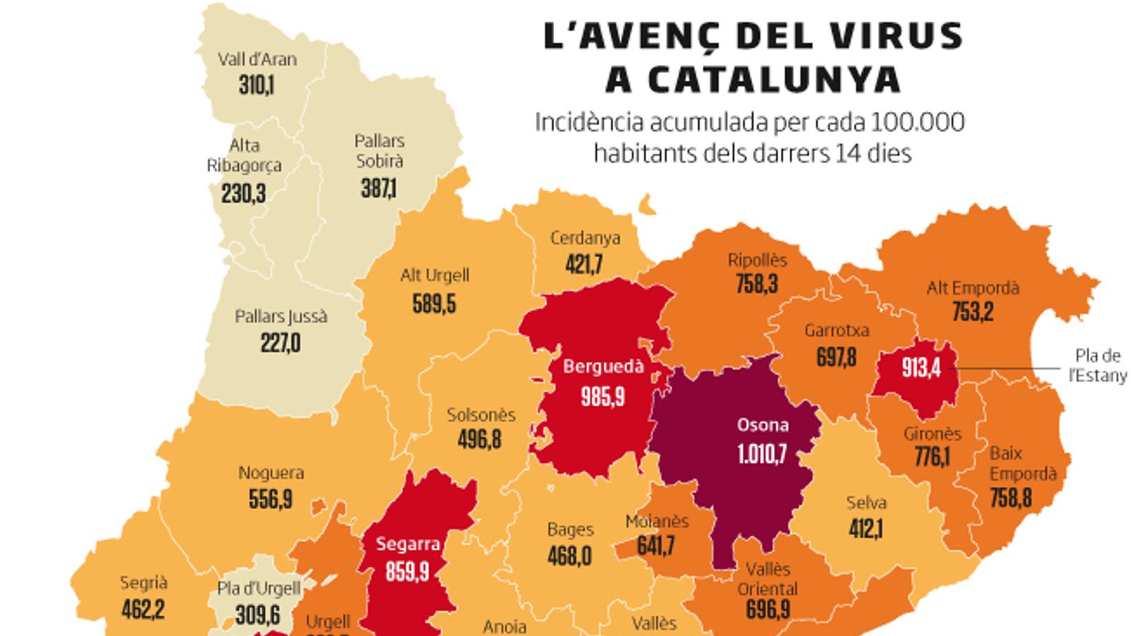 Osona i el Berguedà, dues de les comarques més afectades pel virus