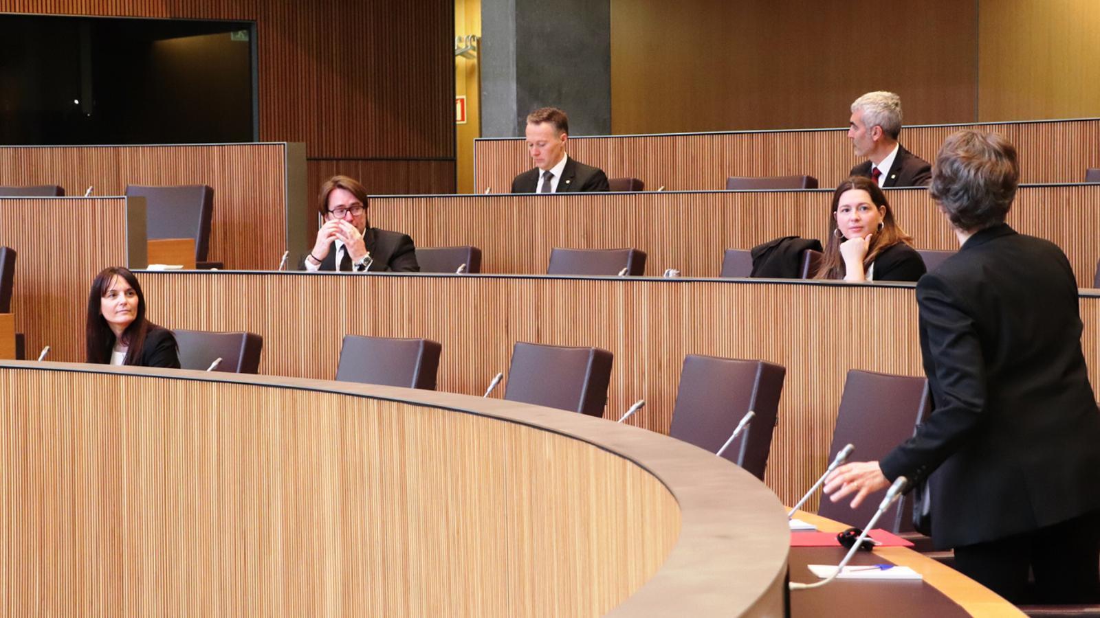 Consellers generals que han pres part en la sessió d'aquest dilluns moments abans de l'inici. / DEMÒCRATES