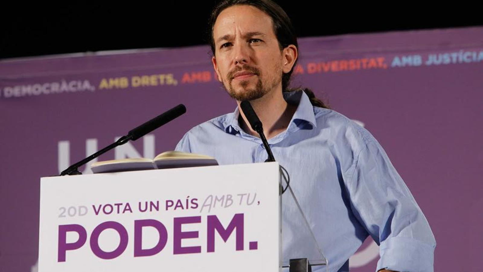 Així ha iniciat el seu mitin Pablo Iglesias al Palma Arena