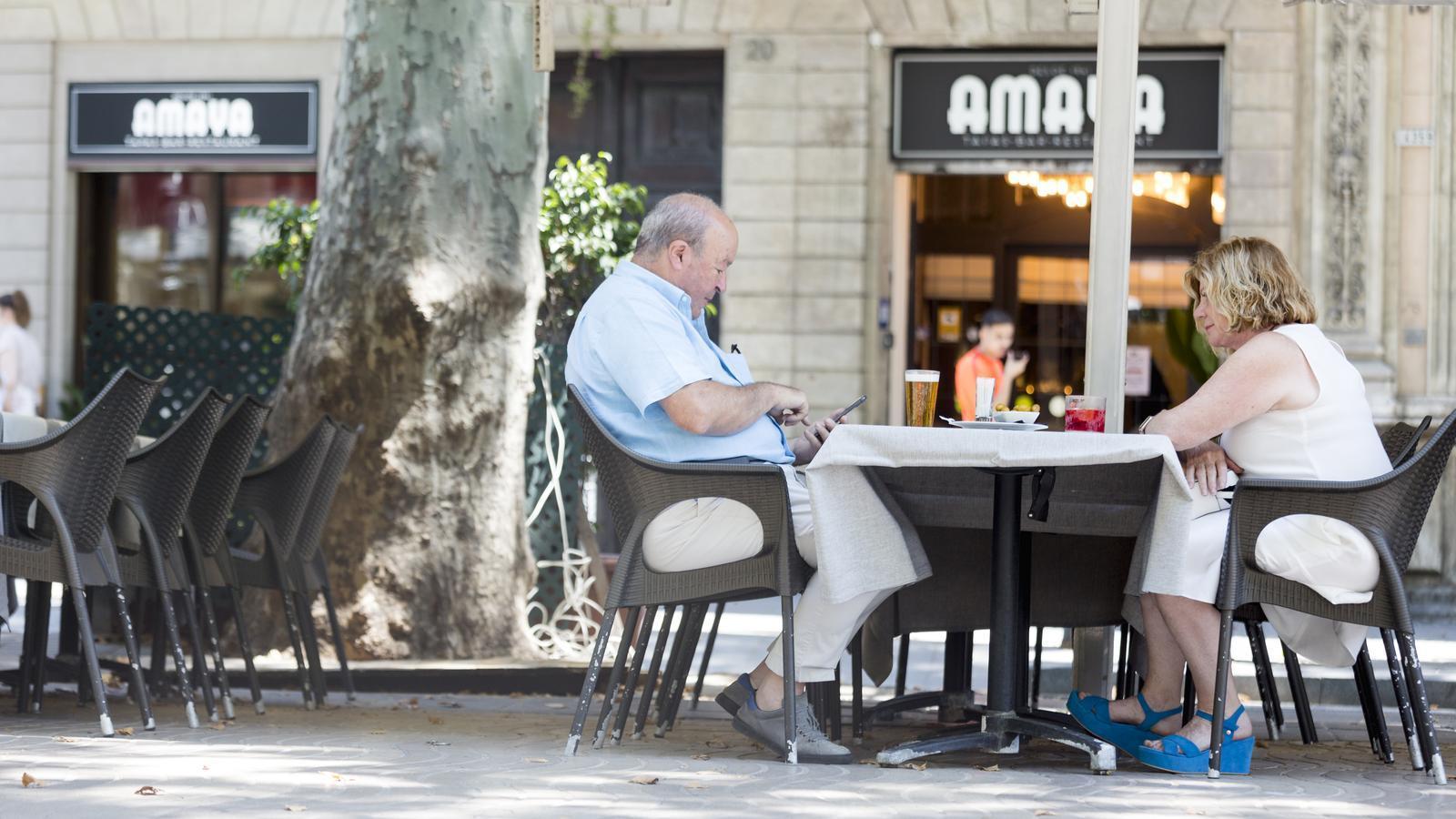 La terrassa del bar Amaya, a la Rambla, aquest matí