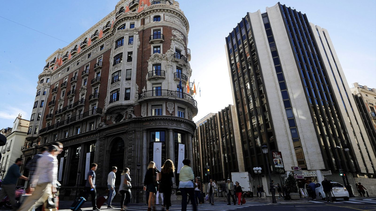 Antic edifici del Banc de València, que ara acull el domicili social de CaixaBank.