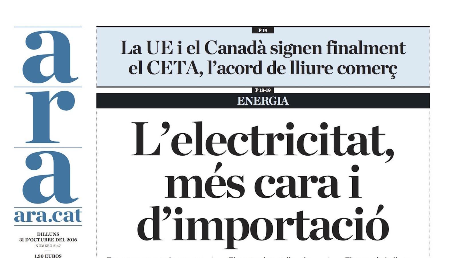 """""""L'electricitat, més cara i d'importació"""", portada de l'ARA"""