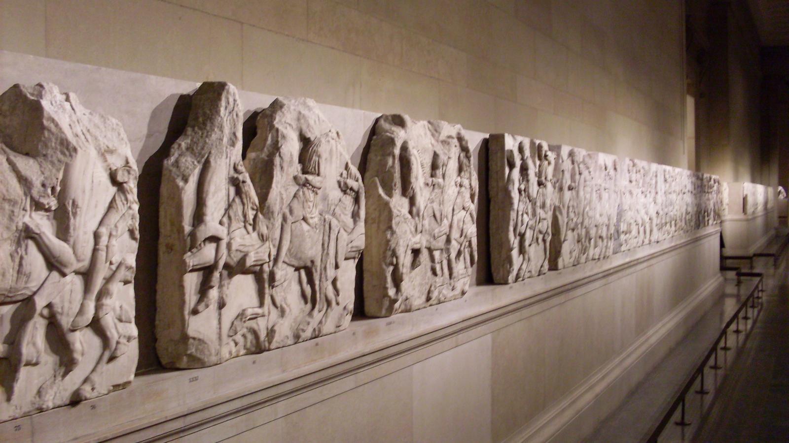 Un aspecte de la galeria del Museu Britànic on es troben els anomenats 'Marbres d'Elgin'