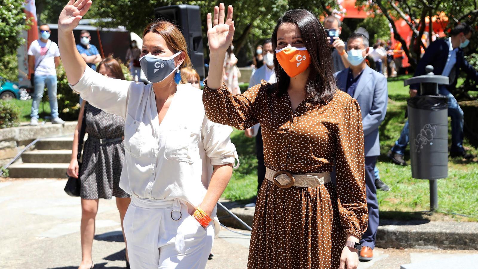 La líder de Ciutadans, Inés Arrimadas, aquest dissabte durant un míting de la campanya gallega a Vigo.