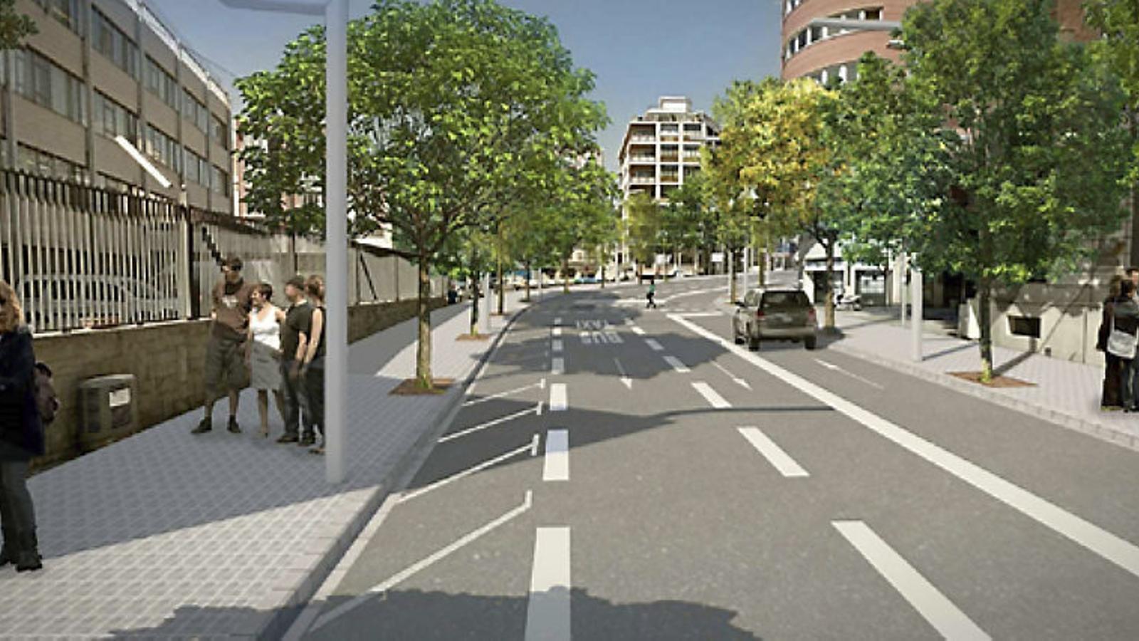 Recreació de l'avinguda Príncep d'Astúries després de la remodelació en curs.